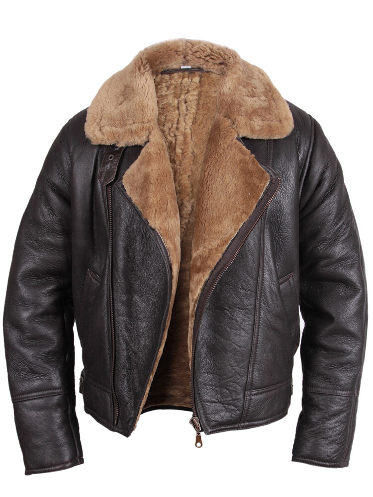 bomber flying jacket mens aviator ginger brown real shearling sheepskin leather ebay. Black Bedroom Furniture Sets. Home Design Ideas