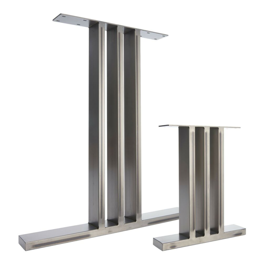 2 X Metal Table Legs Bench Legs The I Beam Design In Clear Finish Black Ebay