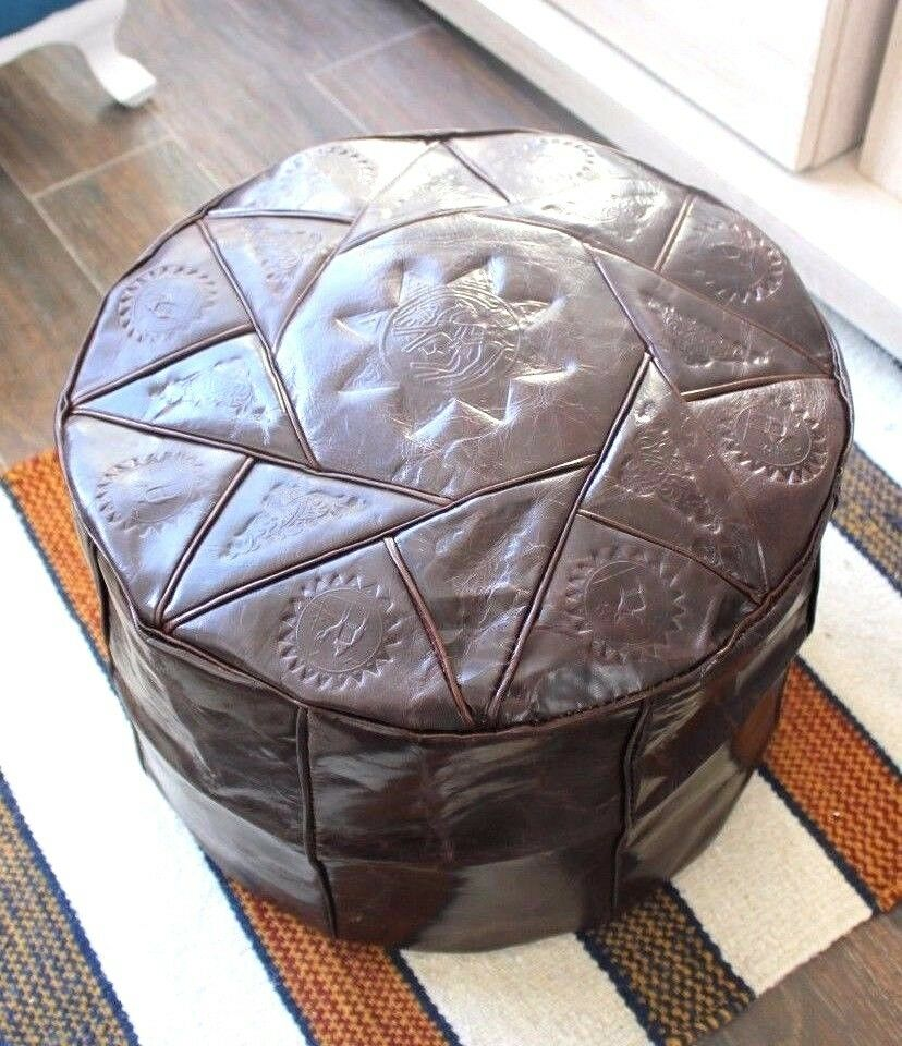 brown handmade moroccan pouf genuine leather pouffe. Black Bedroom Furniture Sets. Home Design Ideas