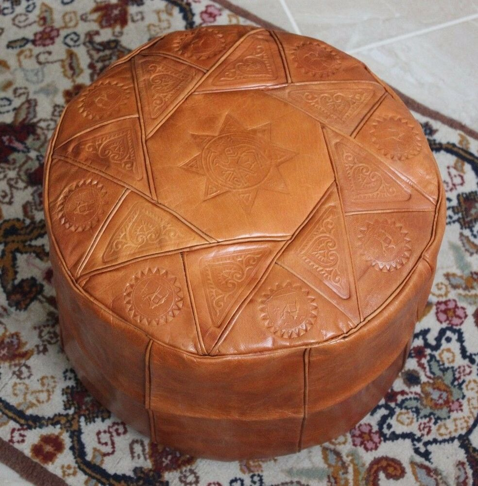 camel brown handmade moroccan pouf genuine leather pouffe ottoman footstool ebay. Black Bedroom Furniture Sets. Home Design Ideas