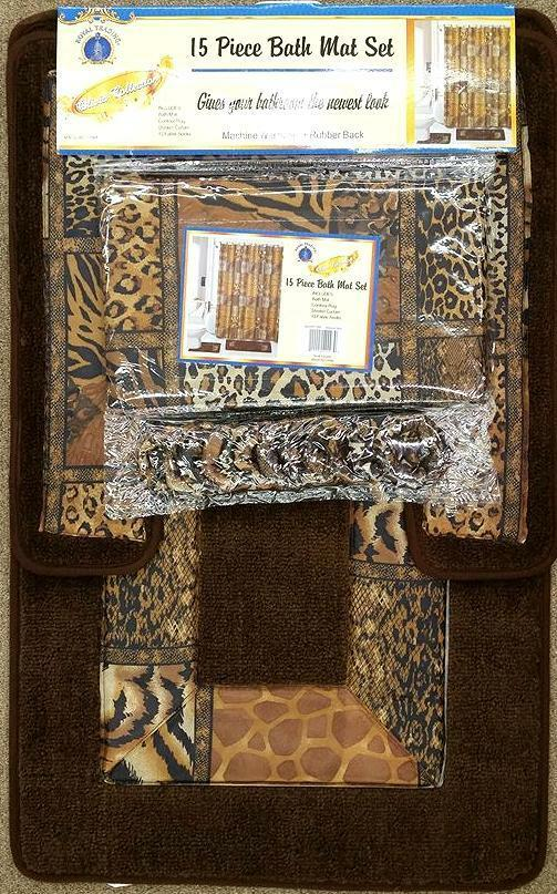 Brown Safari 15 Piece Bathroom Set Animal Print Bath Rugs