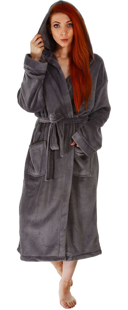 hooded plush bathrobe coral fleece spa robe shawl for women and men ebay. Black Bedroom Furniture Sets. Home Design Ideas
