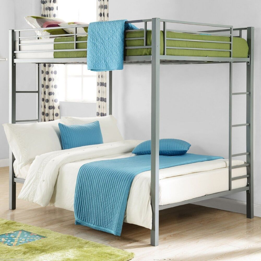 full over full metal bunk bed silver kids bedroom furniture double bunkbeds new ebay. Black Bedroom Furniture Sets. Home Design Ideas