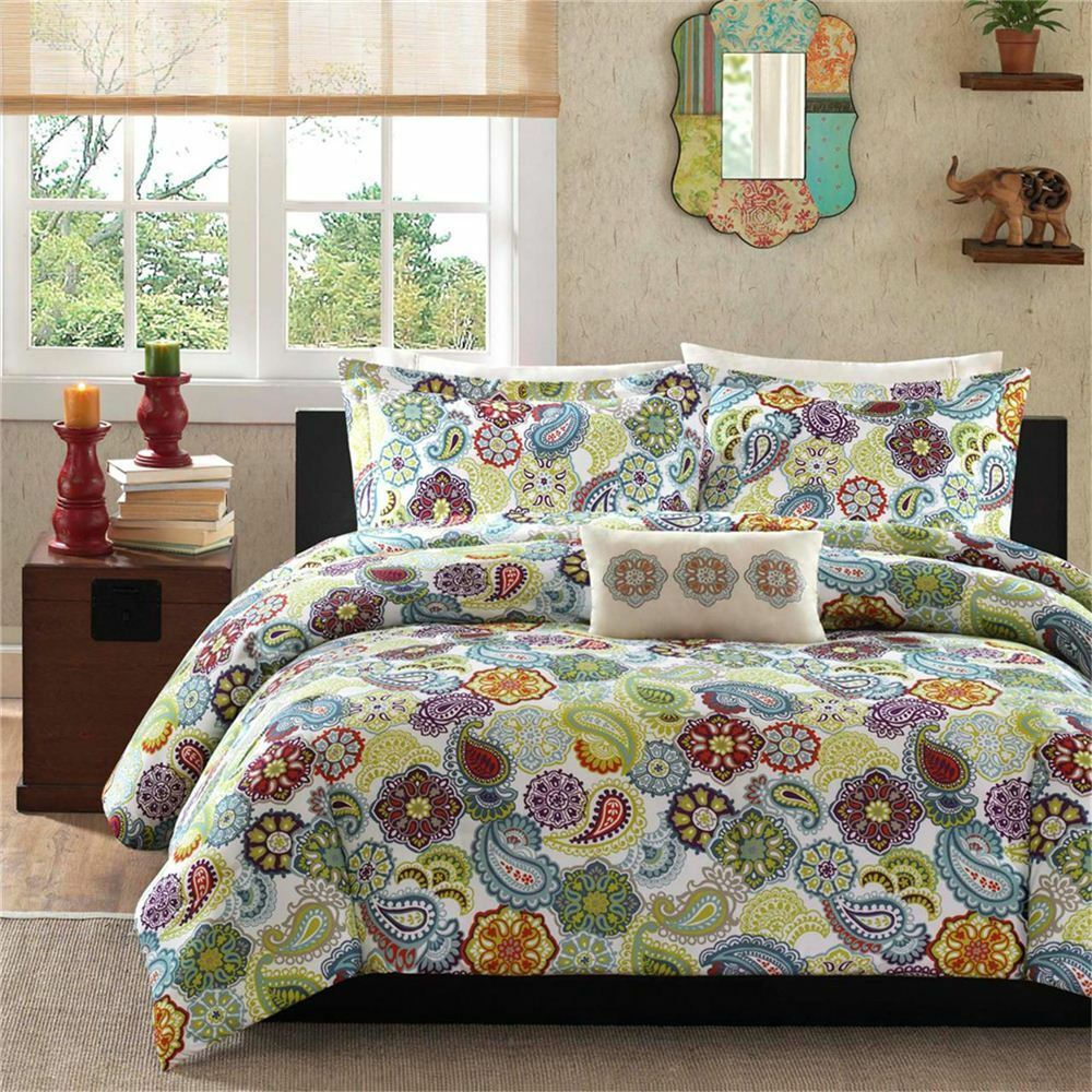beautiful modern green purple teal blue aqua tropical medallion comforter set ebay. Black Bedroom Furniture Sets. Home Design Ideas