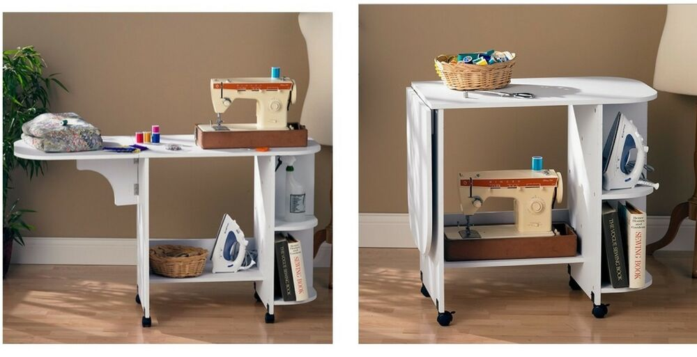 New white rolling sewing machine craft table folding desk for Craft desk with storage