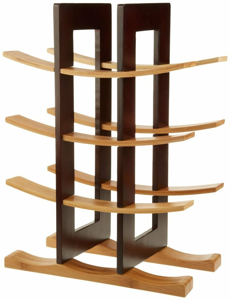 anchor home collection bamboo wine rack with espresso finish new free shipping ebay. Black Bedroom Furniture Sets. Home Design Ideas