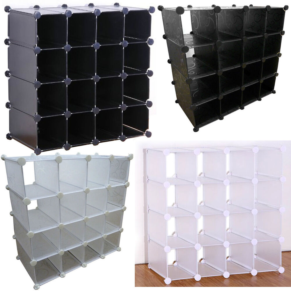 New Interlocking 16 Pairs Cube Shoe Organizer Storage Rack