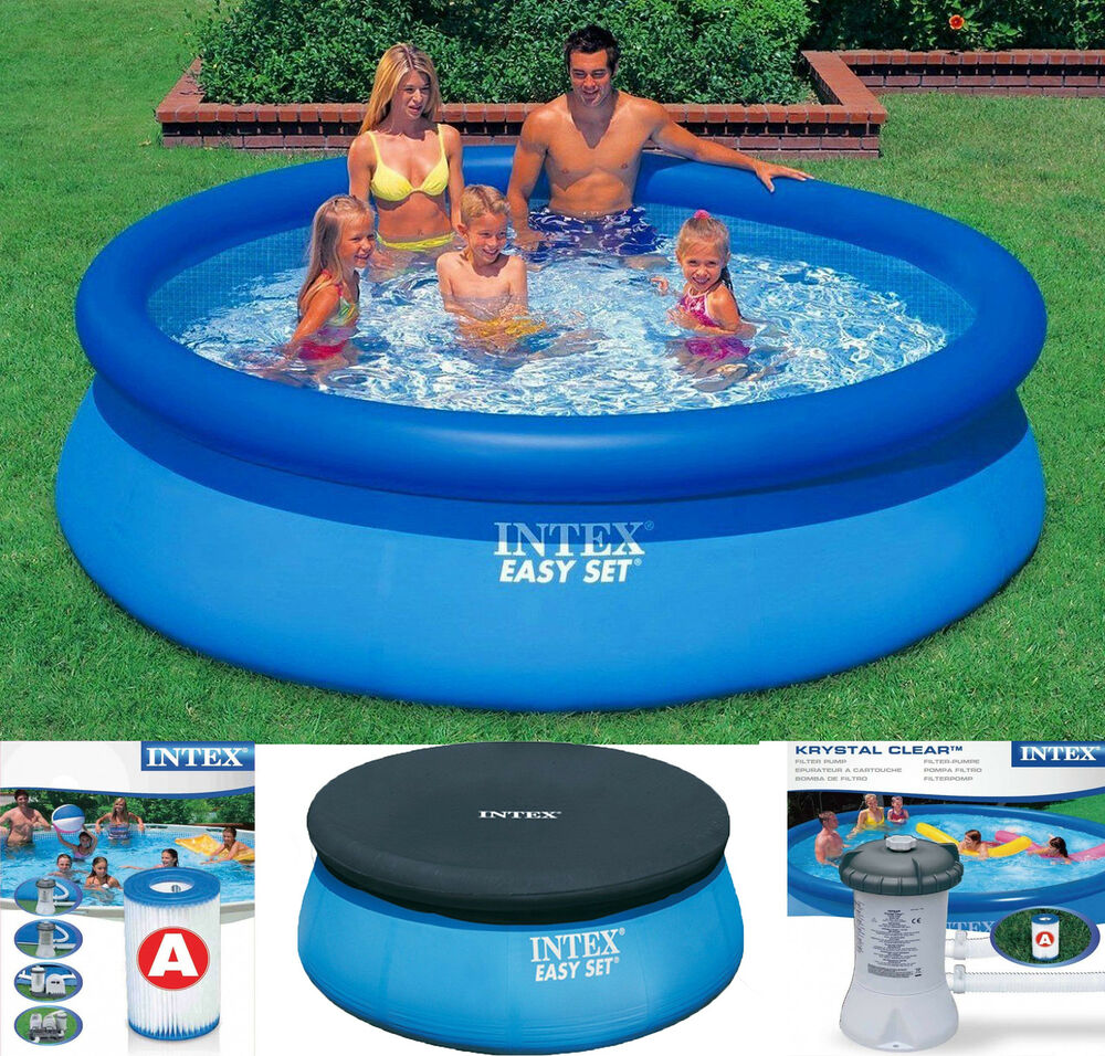 Intex easy set inflatable swimming paddling pool 6 8 10 ft pool cover pump ebay Intex inflatable swimming pool