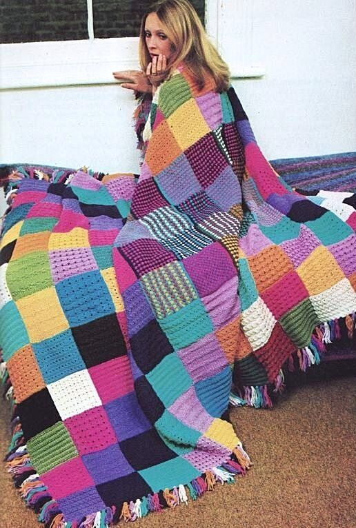 Knit Quilt Patterns : EASY KNITTING PATTERN DK VINTAGE PATCHWORK BLANKET ...