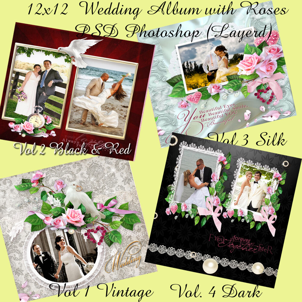 "Wedding Album Design Software Digital Photography Free Download: Photoshop Wedding Photo Album Templates PSD 12x12"" ,Roses"