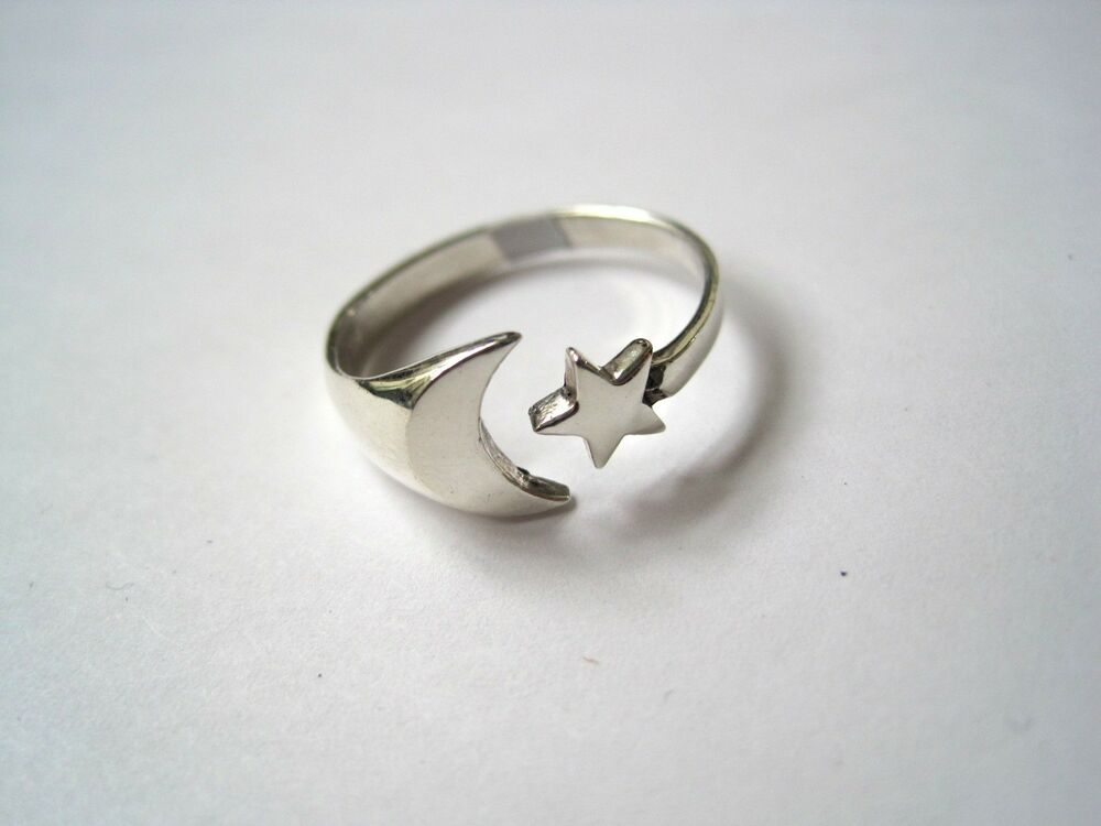 adjustable sterling silver moon thumb ring