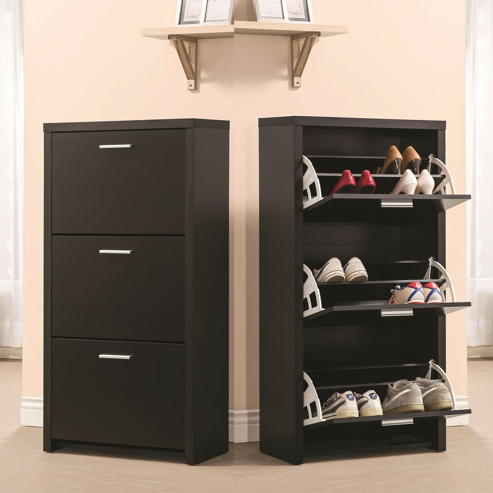Black Wooden Tall 3-Drawer 12 Pair Shoe Organizer Cabinet