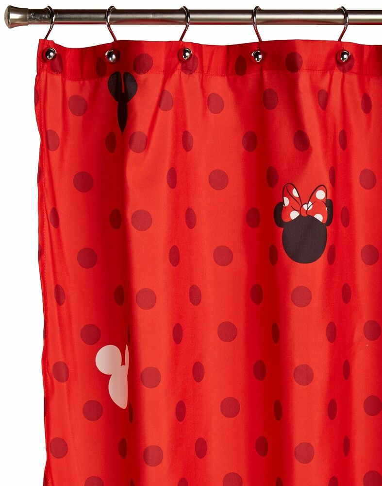 Disney Mickey And Minnie Fabric Shower Curtain New Free