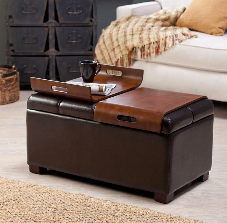 Ottoman storage faux leather coffee trays convertible bench table tufted brown ebay Brown leather ottoman coffee table