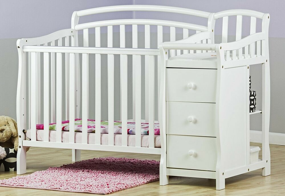 convertible baby bed 3 in 1 mini crib white dressing table nursery bedroom new ebay. Black Bedroom Furniture Sets. Home Design Ideas