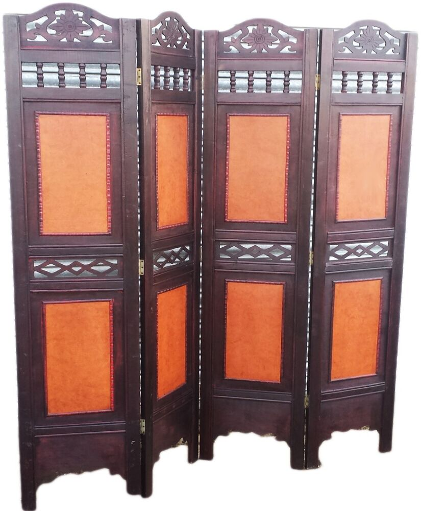 oriental 4 panels wood screens room dividers privacy wall seperators office home ebay. Black Bedroom Furniture Sets. Home Design Ideas