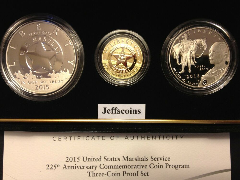 2015 W P S Us Marshal Service Gold Silver Proof 5 Dollar