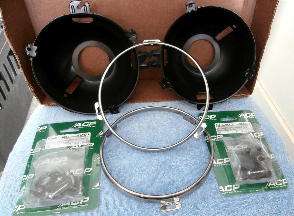 Ford Mustang 65 >> 1965-66 Ford Mustang Headlight Rings, Buckets, and Assembly Hardware Kit | eBay