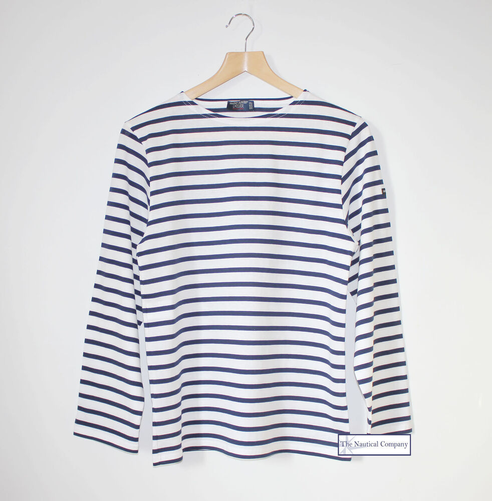saint james striped t shirt white navy blue st minquiers