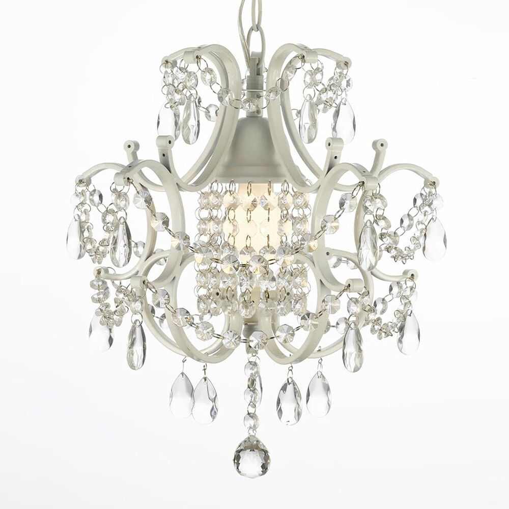 White Mini Crystal Chandelier Pendant Hanging Lamp Ceiling