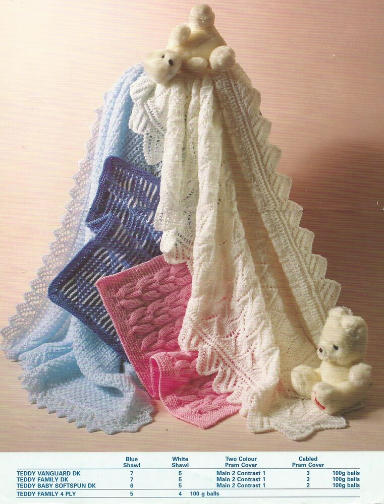 Knitting Patterns For Baby Blankets And Shawls : Baby Blanket Knitting Pattern Shawls & Pram cover DK ...
