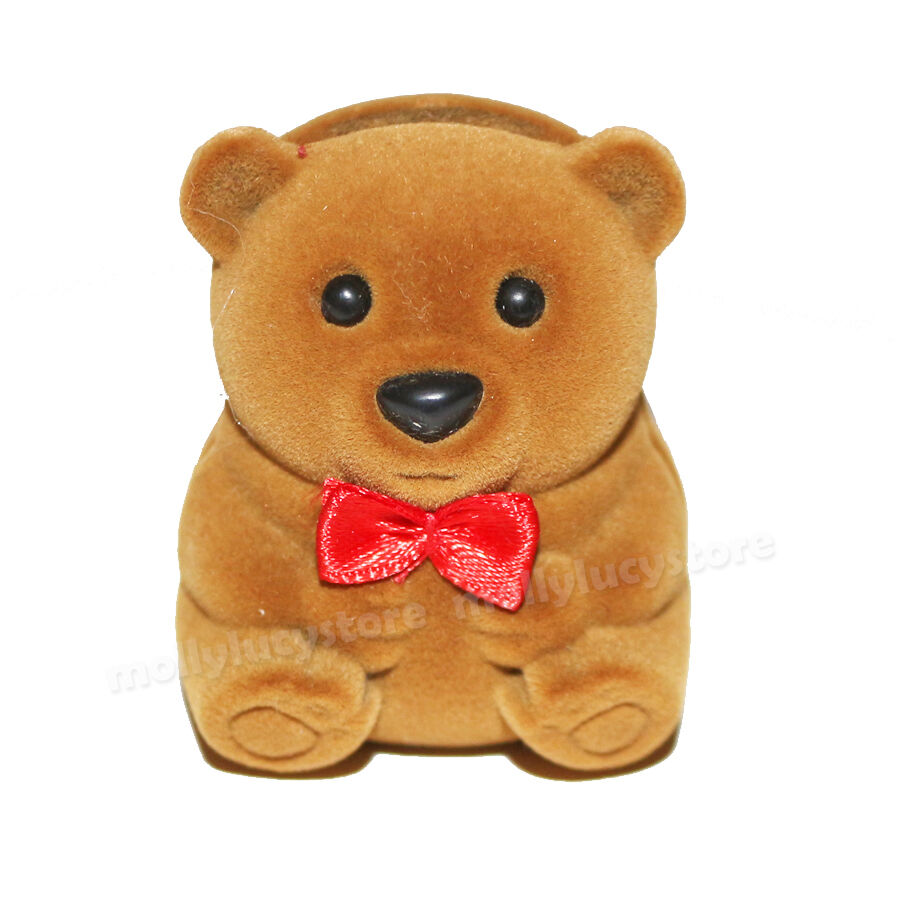 NEW cute brown teddy bear red bow small jewelry gift box ...