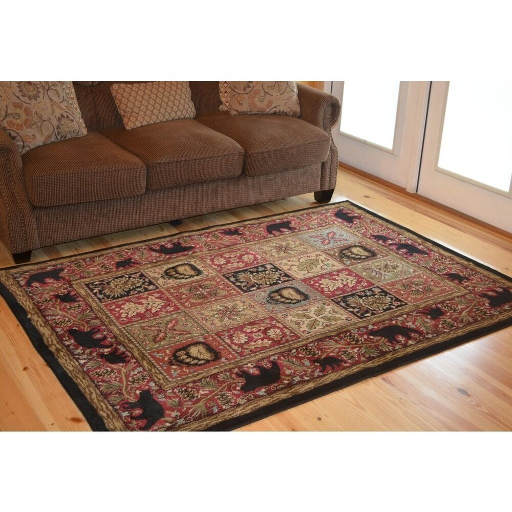 Lodge Cabin Forest Rustic Black Bear Paw Red Area Rug