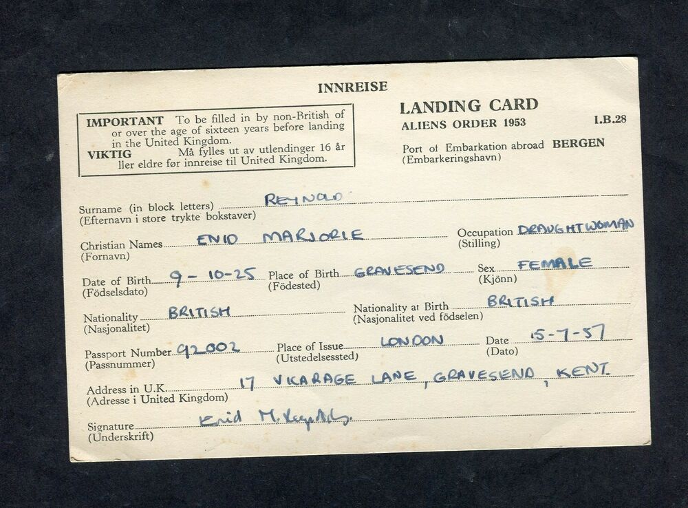 dated 1957 a landing card from bergen norway to uk