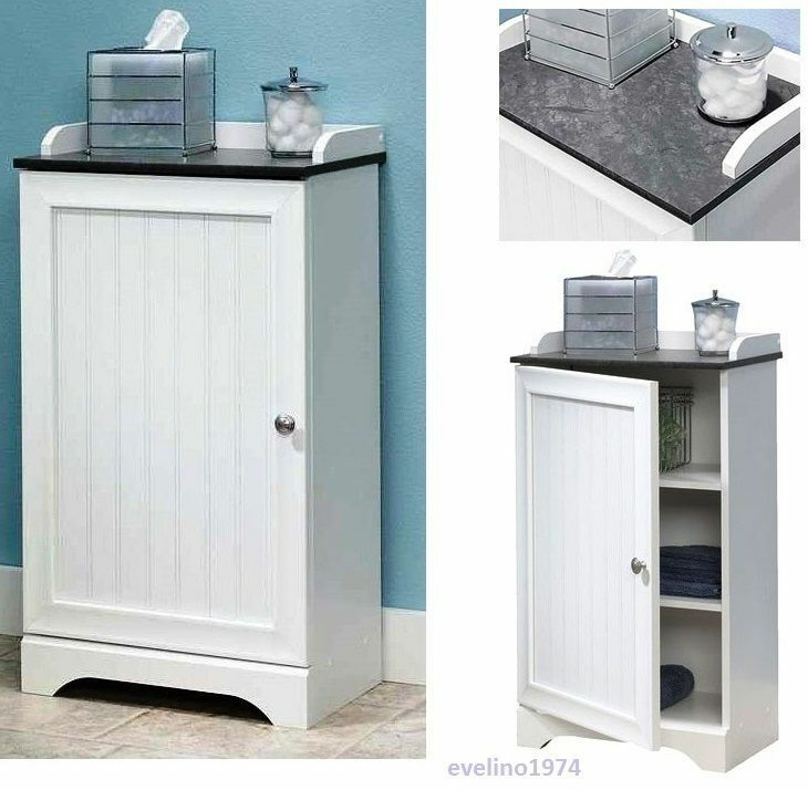 White Floor Cabinet Toiletry Cleaners Towel Storage