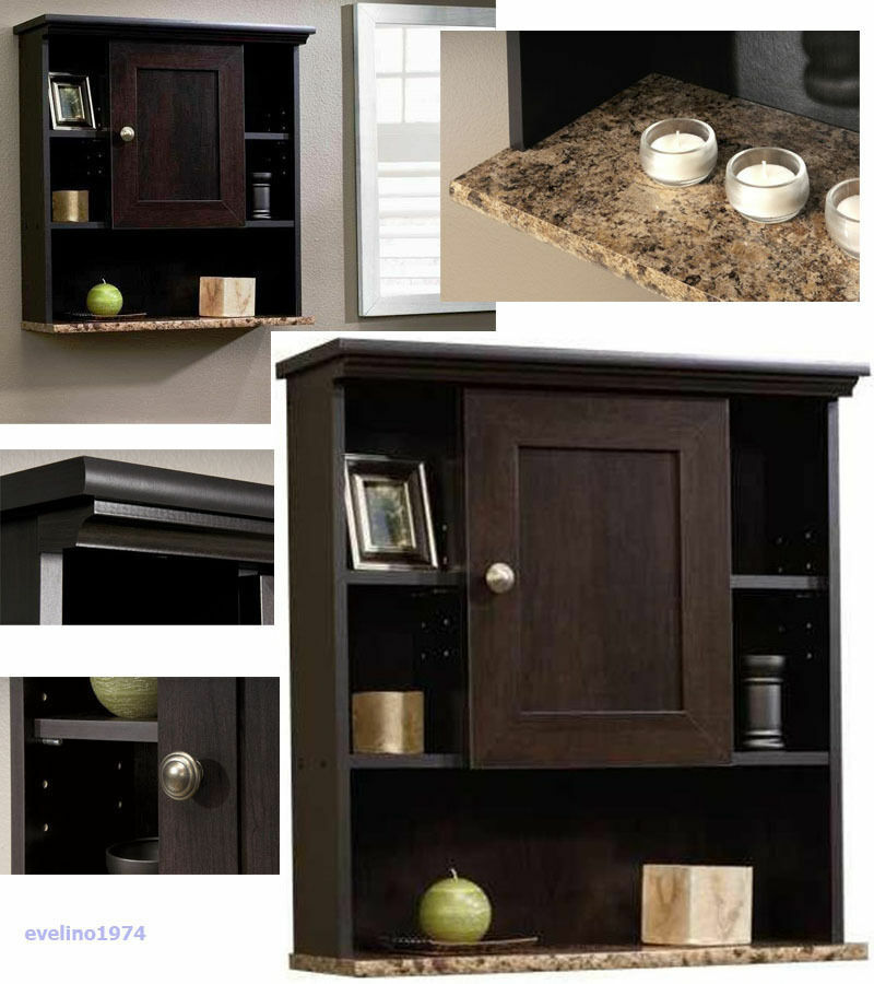 3 Shelf Wall Cabinet Toiletry Storage Medicine Cabinets Bathroom Hallway Cherry Ebay