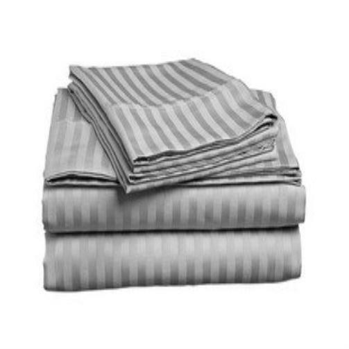 new bed sheets count italian 1500 thread striped 4pc queen sheet set grey cozy ebay. Black Bedroom Furniture Sets. Home Design Ideas