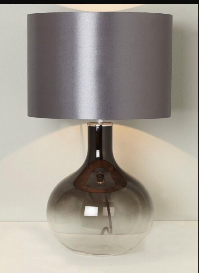 Bhs Wall Lamp Shades : BHS LEONIE Round Table Lamp light black smoked glass base / grey shade free P&P eBay