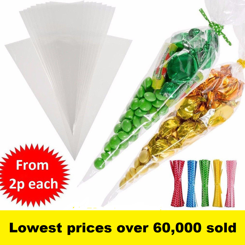 Clear cellophane cone bags twist ties large size party for Edible christmas gifts to make in advance
