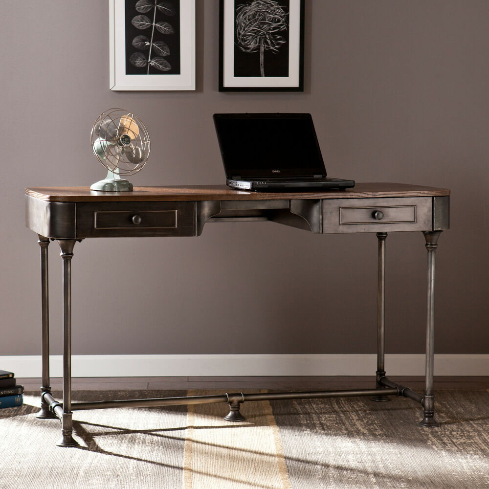 Edison industrial metal computer writing desk home office sei furniture ho9052 ebay - Metal office desk ...