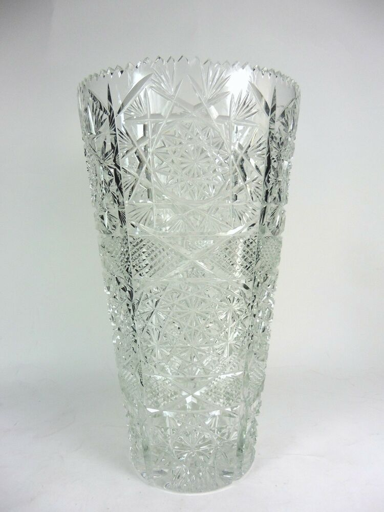 Vintage lead crystal vase cut glass artist signed ebay for How to cut yourself with glass