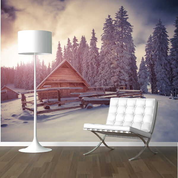 Log cabin in a snowy forest nature wallpaper mural design for Cabin in the woods wall mural