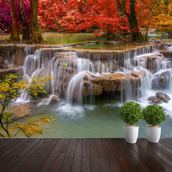 Waterfalls in autum with trees nature wallpaper mural for Mural nature