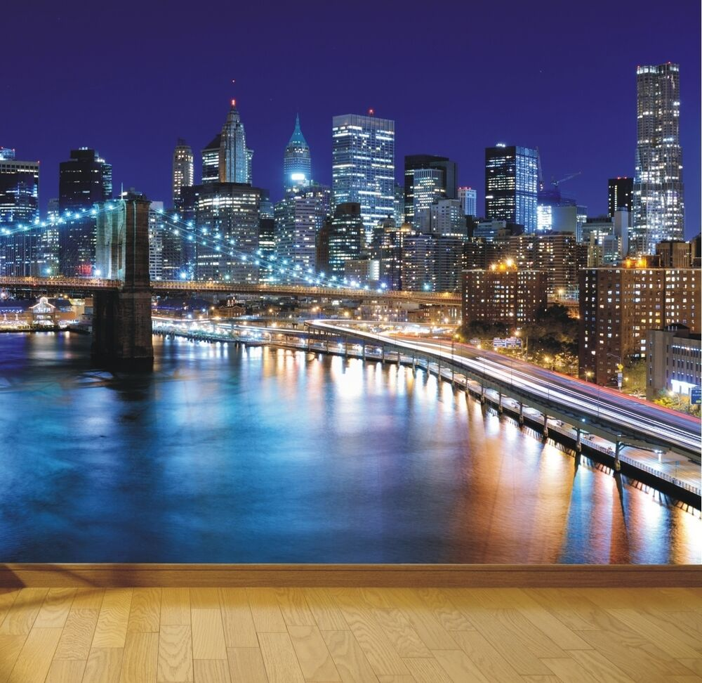 New york brooklyn bridge at night photo wallpaper mural for Brooklyn bridge wallpaper mural