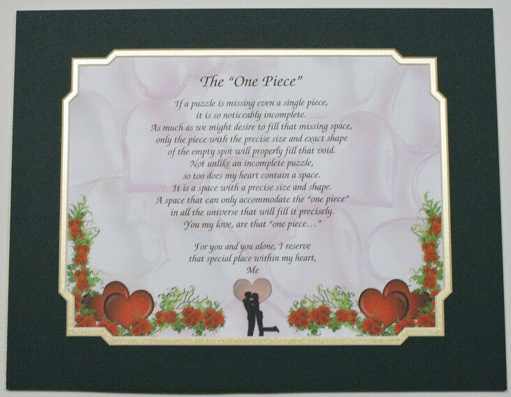 The One Piece Personalized Poem Gift The Perfect