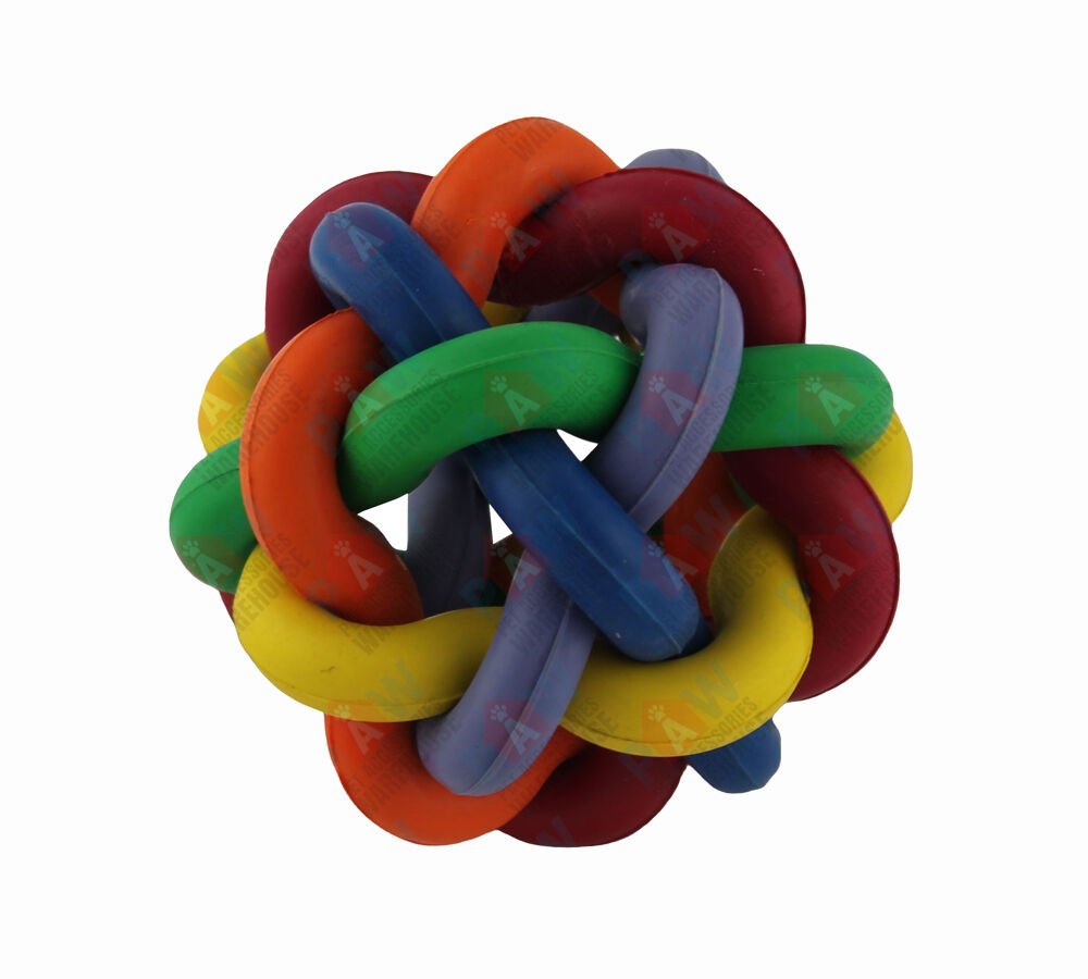 Toy Rubber Balls : Dog toy rubber ball twine multiple colours solid