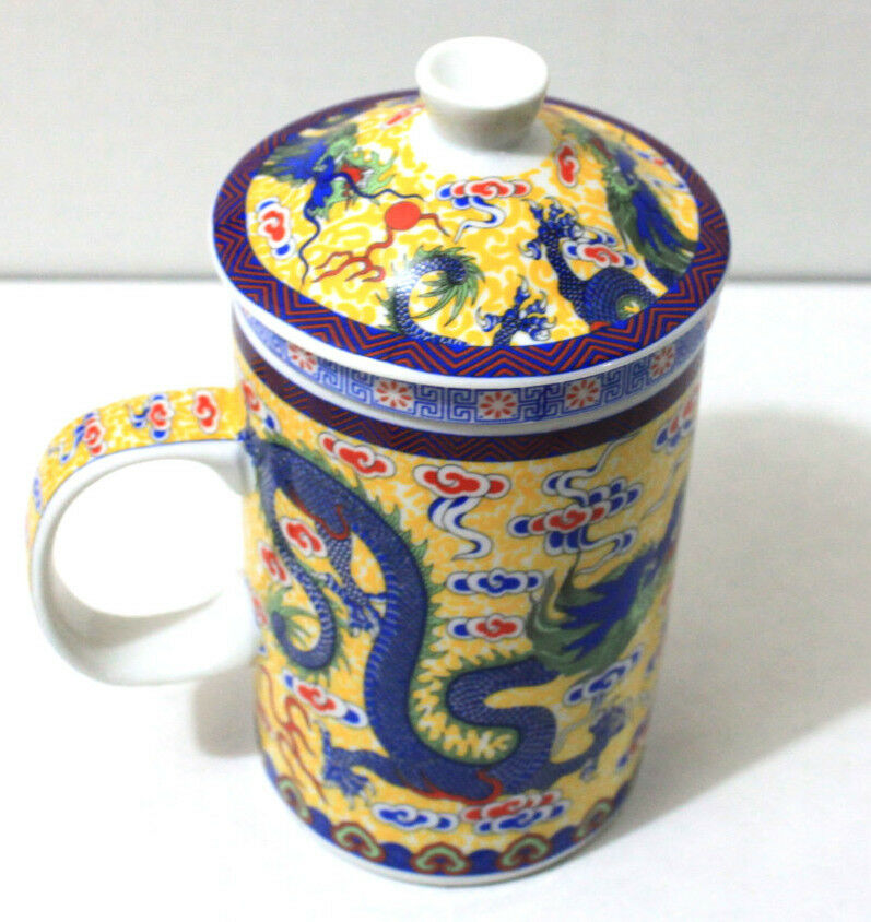 new yellow dragon ceramic porcelain tea cup coffee mug with infuser and lid ebay. Black Bedroom Furniture Sets. Home Design Ideas