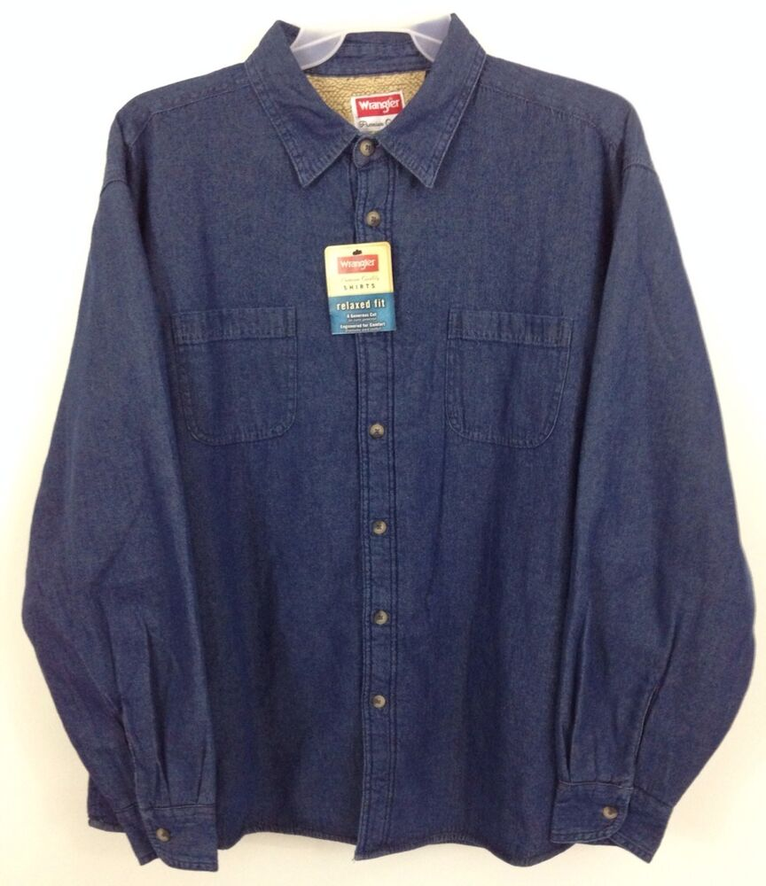 Nwt Wrangler Flannel Sherpa Lined Work Shirt Jacket Denim