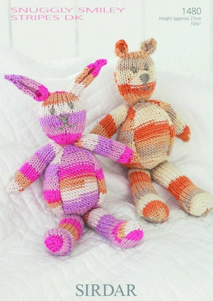 Sirdar Toy Knitting Patterns : RABBIT & BEAR TOY KNITTING PATTERN SIRDAR SNUGGLY SMILEY STRIPES DK 1480 ...