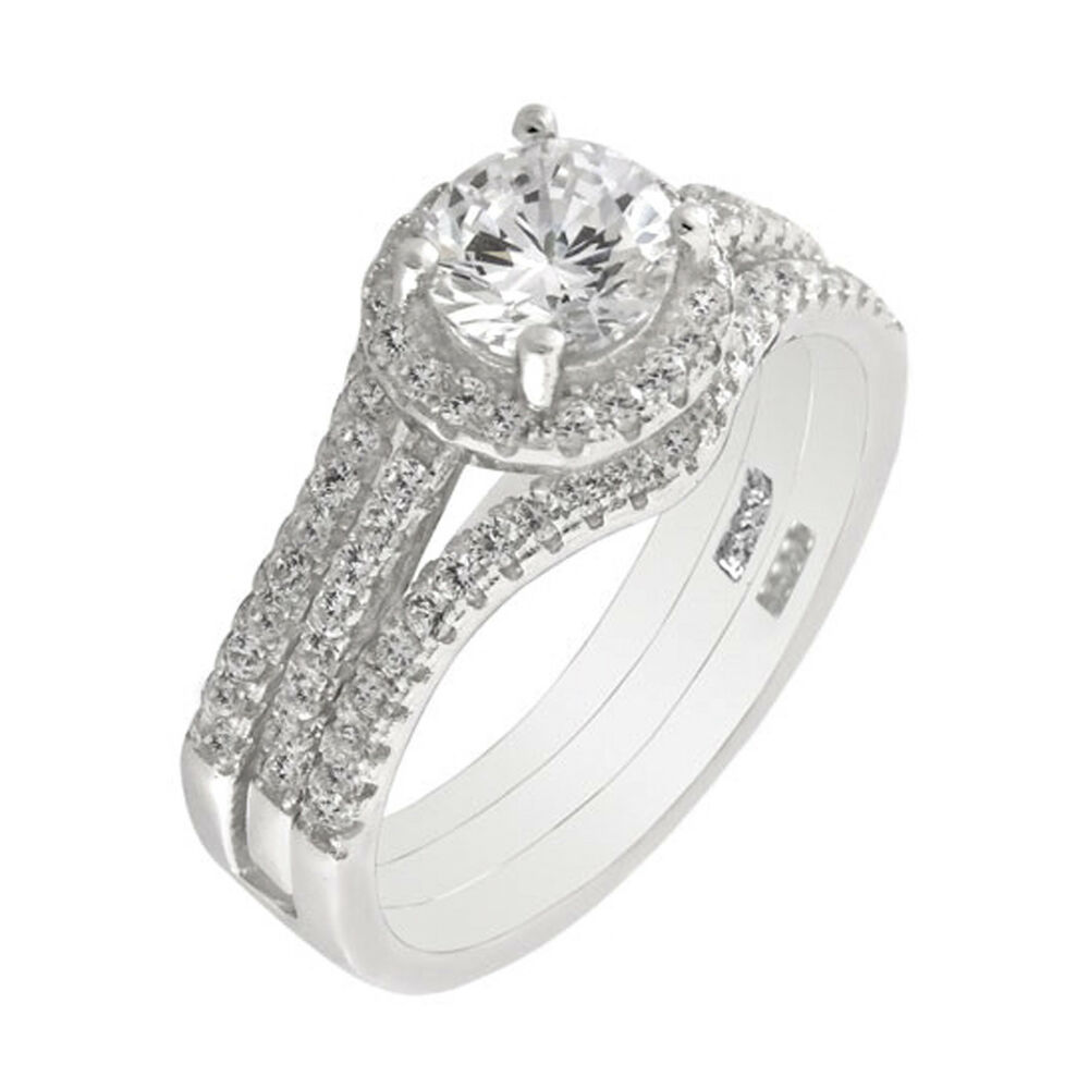 3pc sterling silver halo round cz wedding engagement band ring set