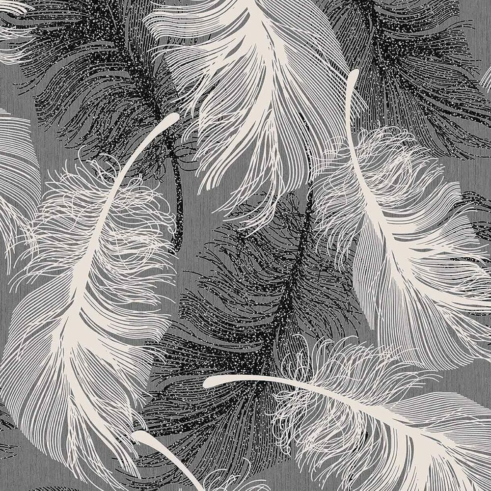 Monochrome grey white black feather wallpaper silver for Black white and grey wallpaper