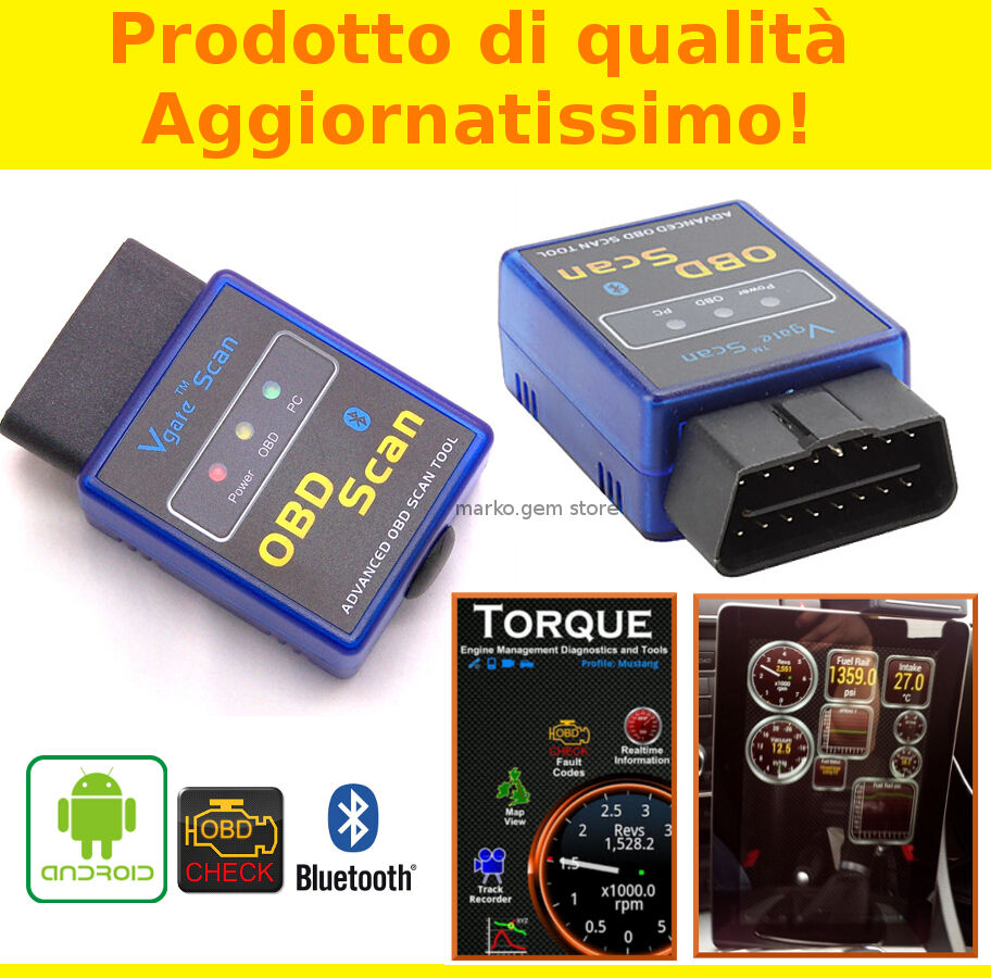 interfaccia mini elm obd2 bluetooth diagnosi auto obdii. Black Bedroom Furniture Sets. Home Design Ideas