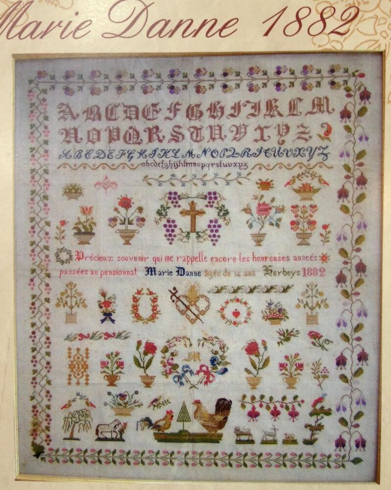 Superb french antique sampler cross stitch pattern chart