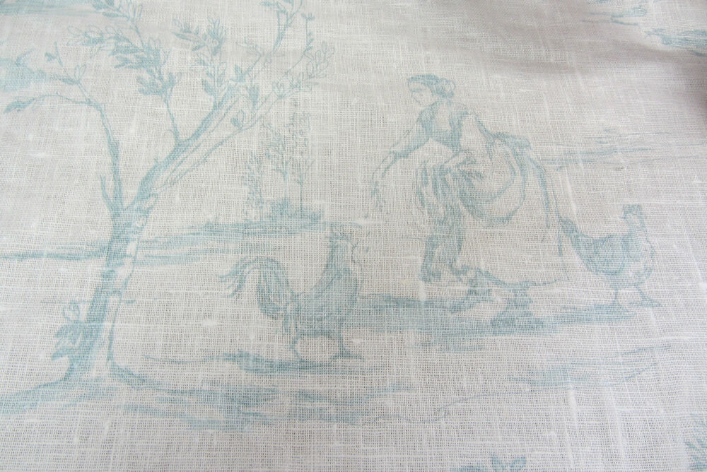 Duckegg Blue Linen Toile De Jouy Curtain Craft