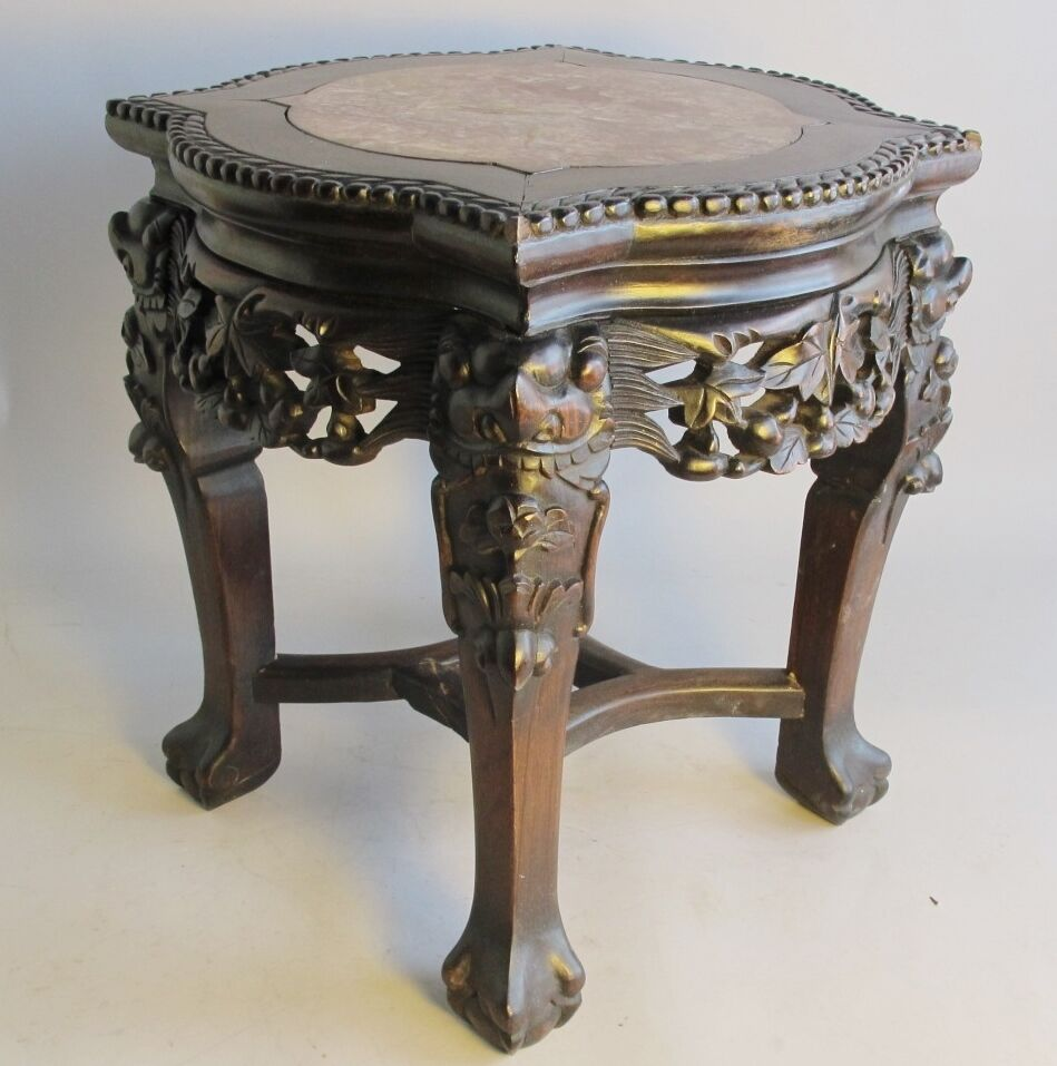 Table China: Finely Carved Antique Chinese Hand-Carved Pedestal Stand C