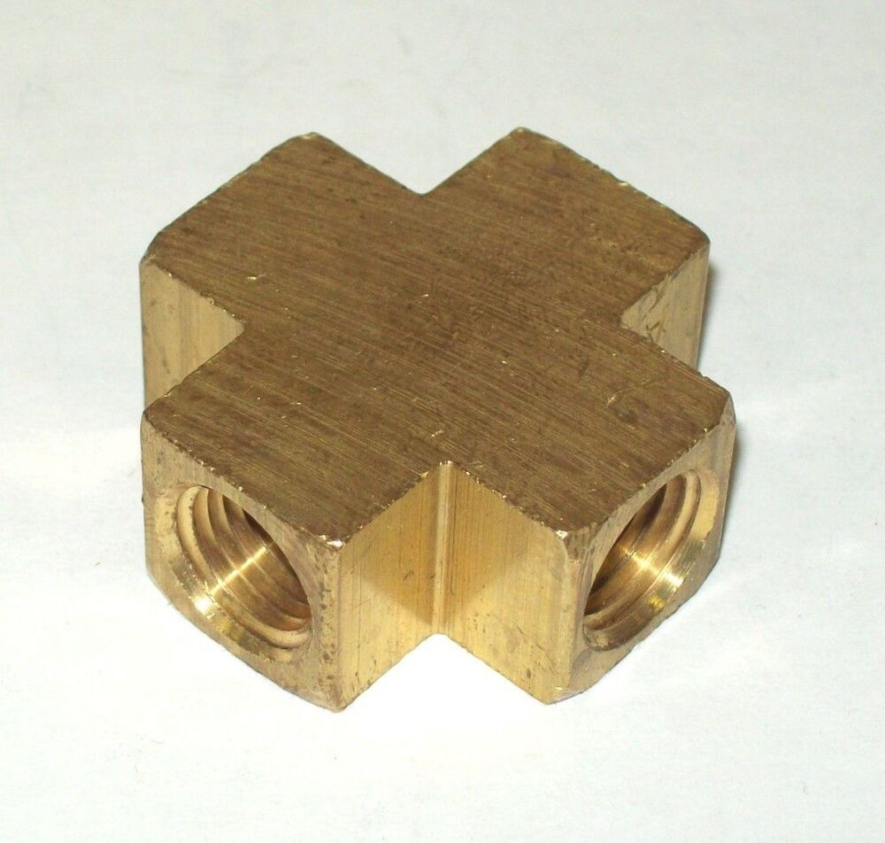 Brass pipe fitting way equal female cross connector